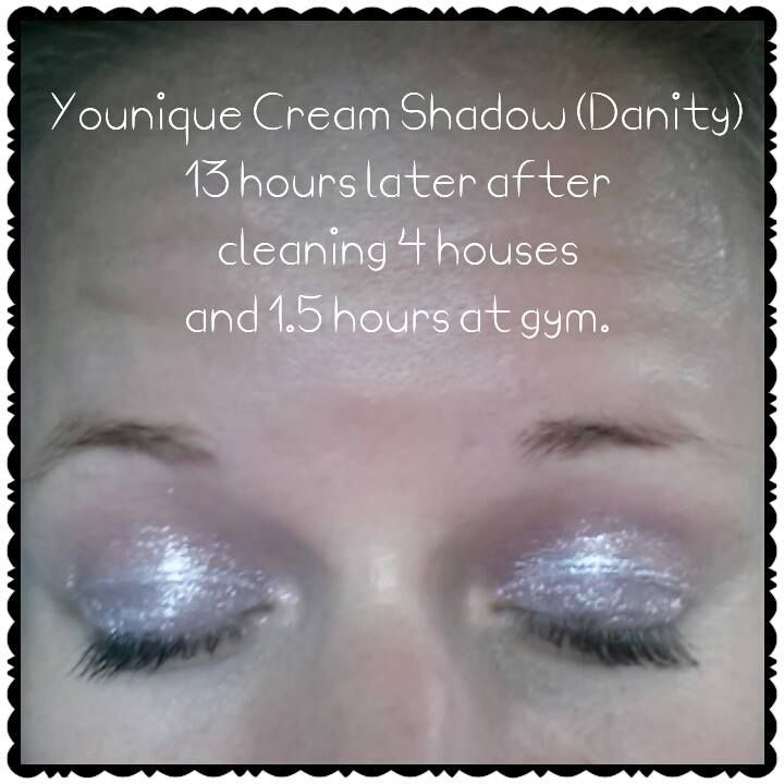 Splurge Cream Shadow!!!  Currently available in 3 gorgeous colors with a new one coming out the 1st of every month!  Does not crease like most other Cream Shadows and it lasts ALL day!!!  This was applied about 5:30am and picture taken around 6pm.  I cleaned 4 houses, went to lunch with my family, then went to the gym for well over an hour!  Lots of sweat and it was a very humid day.  Click the picture to get yours!