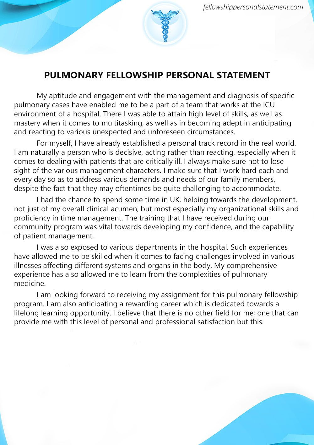 Pulmonary Fellowship Personal Statement  Pulmonary Fellowship