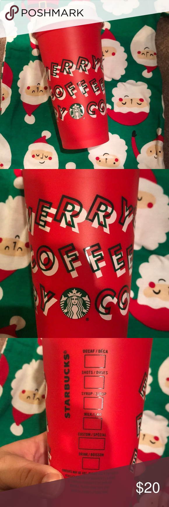 Reusable Christmas 🎄 Starbucks plastic travel mug NWOT