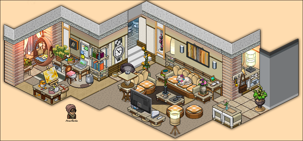 Modern living room appartement by for Sala de estar habbo