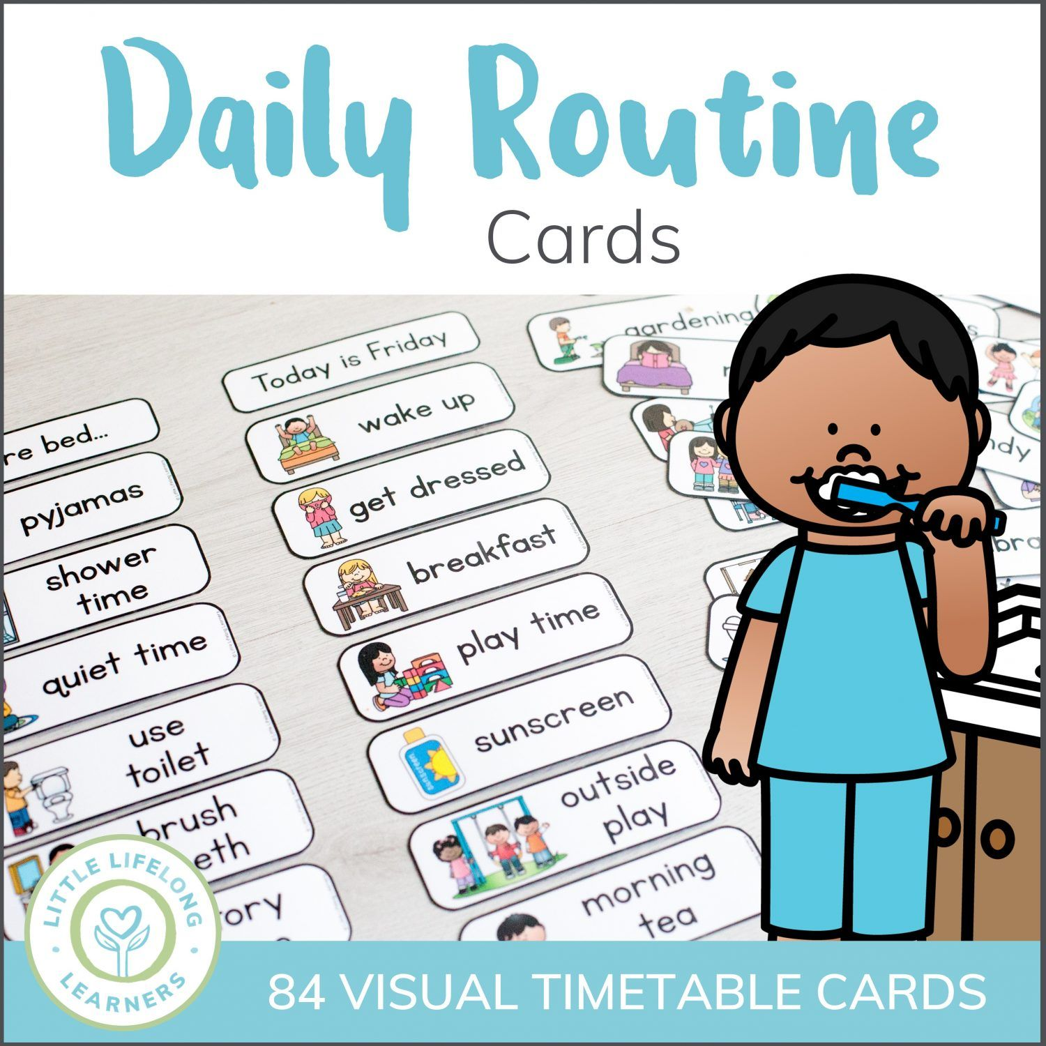 Create A Visal Timetable Or Schedule Using These Daily Routine Cards Perfect For Toddlers Presch Routine Cards Daily Routine Chart For Kids Preschool Routine