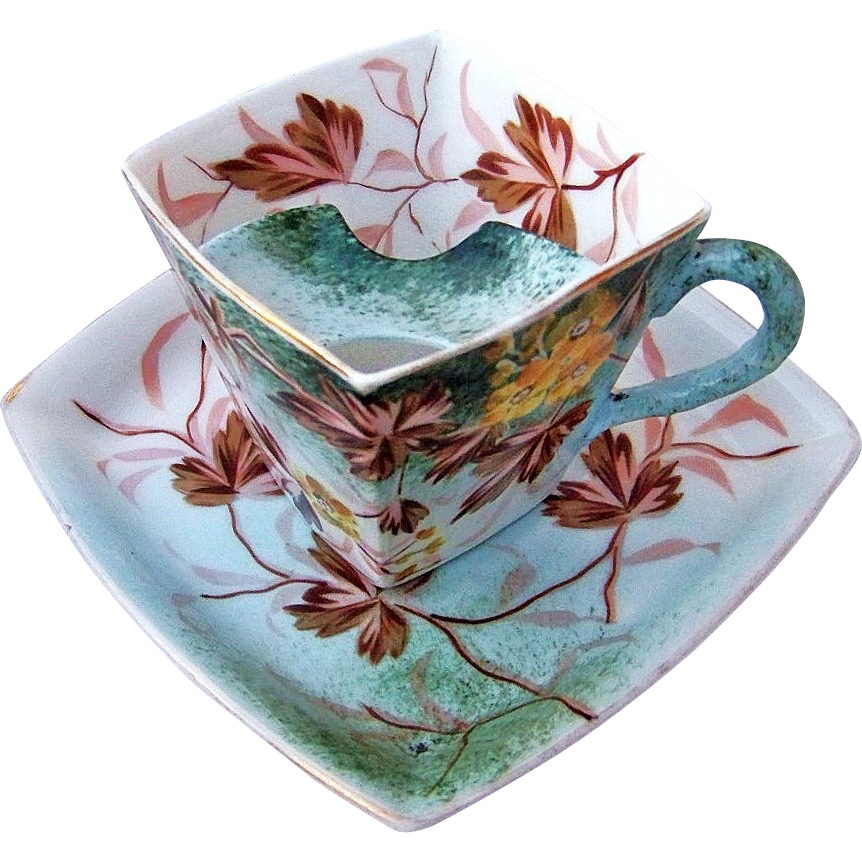 """Outstanding RS Prussia 1890's Hand Painted """"Yellow Flowers & Fall Leaf Colors"""" Mustache Cup & Saucer"""