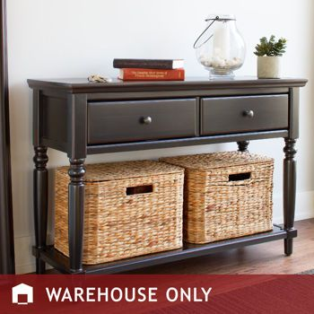 Superbe Irving Console Table: Distressed Black Painted Finish,Oil Rubbed Bronze  Finished Knobs, Two Storage Drawers, Includes Two Woven Baskets With Lids.
