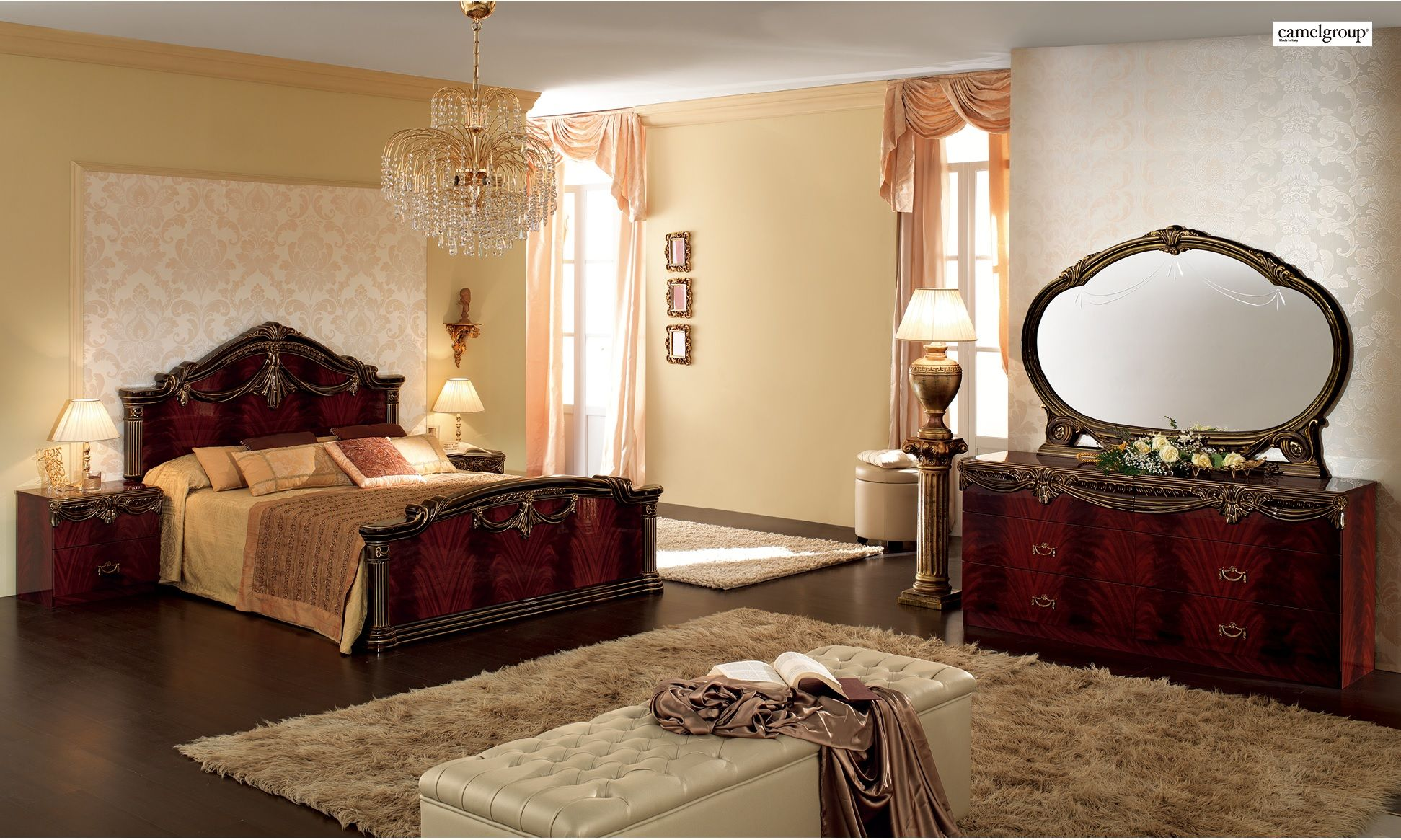 italian lacquer furniture. Luxor Bedroom Set In Mahogany Lacquer Finish By Camelgroup, Made Italy Https:/ Italian Furniture