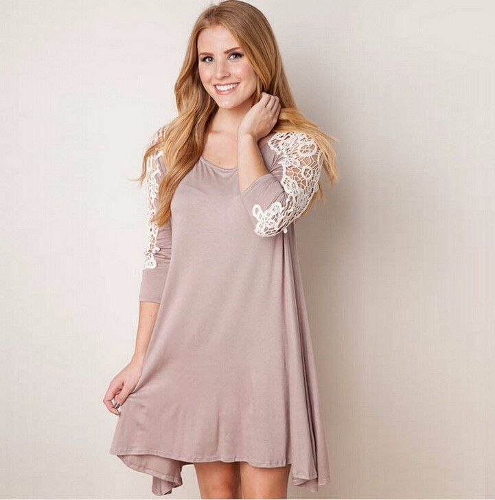 Western Womens Loose Casual Dress Long Sleeve Crew Neck Fashion Dresses New