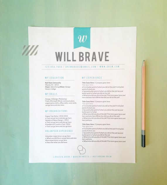 instant download resume letterhead the will by 23and9creative 2000 - Resume Letterhead