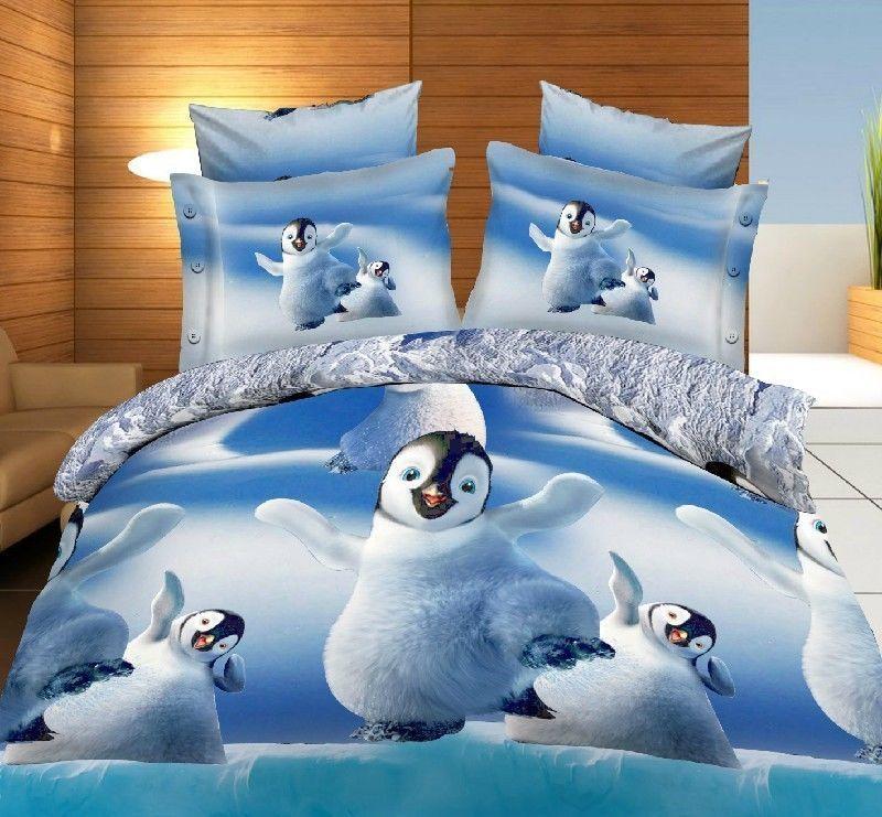 Penguin Snow 3d Bedding Set Bed Sheet Textile Duvet Cover