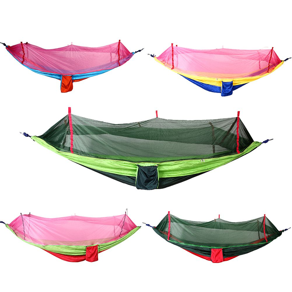 260 138cm Nylon Single Person Portable Hammock With Mosquito Net For
