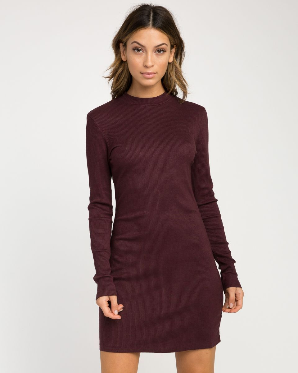 The rvca latte long sleeve bodycon dress is a long sleeve ribbed