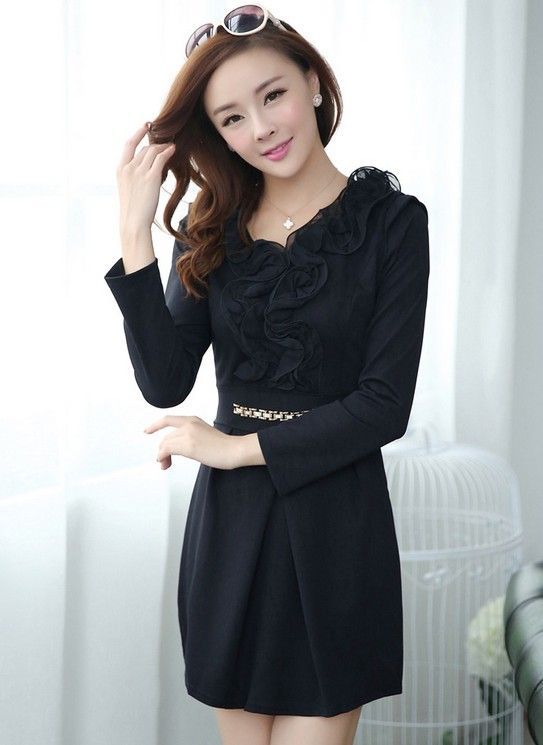 Korean OL Style Long Sleeve Chiffon Lotus Leaf Knit Dress--Click the picture can place an order,we support wholesale shoes. #shoes #wholesale #fashion #lovely #cheap #Korean #dress #sexy