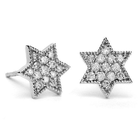 8f4d63891 ON SALE Gold Star Of David Earrings, Diamond Star Of David Earrings, Star  Of David Stud Earrings, Ba