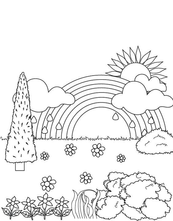 simple-rainbow-coloring-sheets-rainbow-in-the-garden-coloring-pages - new preschool coloring pages rain