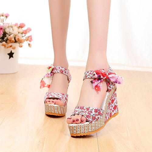 dcf9d79bb903 Bohemian Floral High Heel with Open toe Platform Shoe
