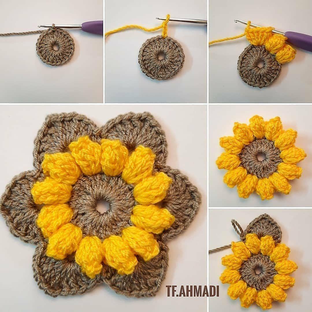 Como fazer flor de croche girassol passo a passo