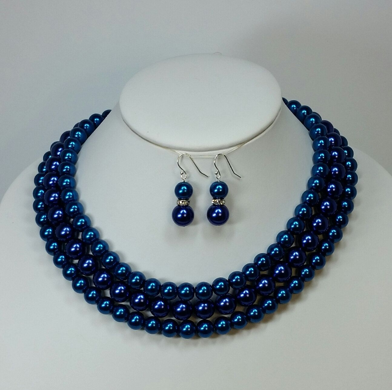 Blue Pearl Two Tone Multi Strand Necklace Set Peacock Blue Etsy Royal Blue Statement Necklace Blue Statement Necklace Multi Strand Necklace