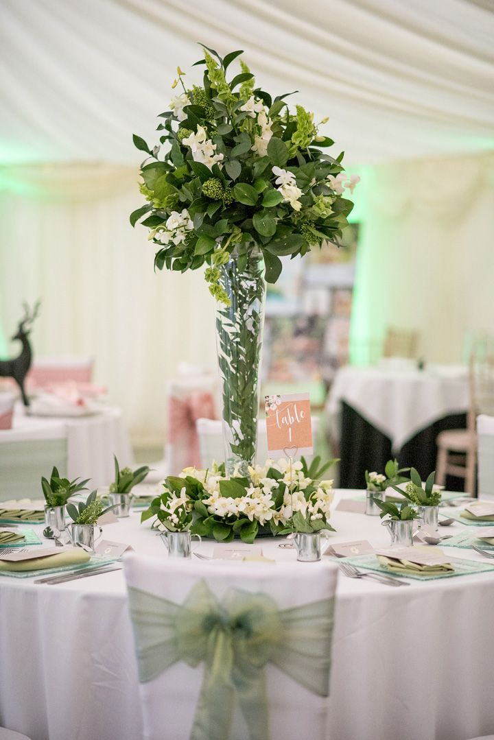 Tall vase wedding centerpieces | greenery wedding colour for wedding reception #weddingcenterpieces #pantone #greenery