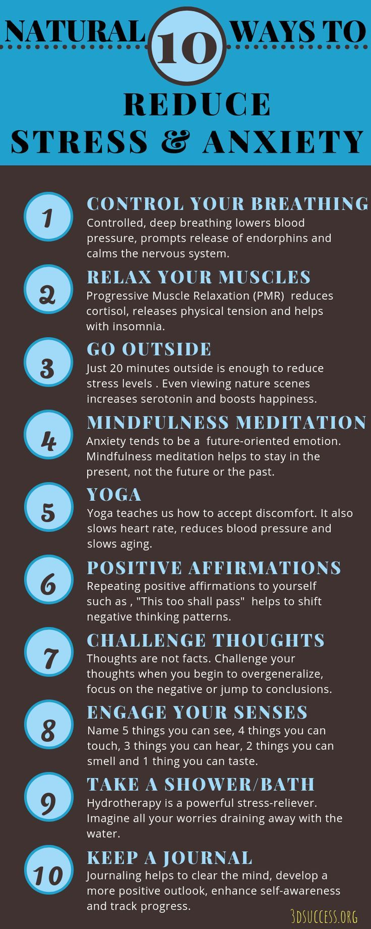 10 Natural Ways to Reduce Stress & Anxiety Infographic