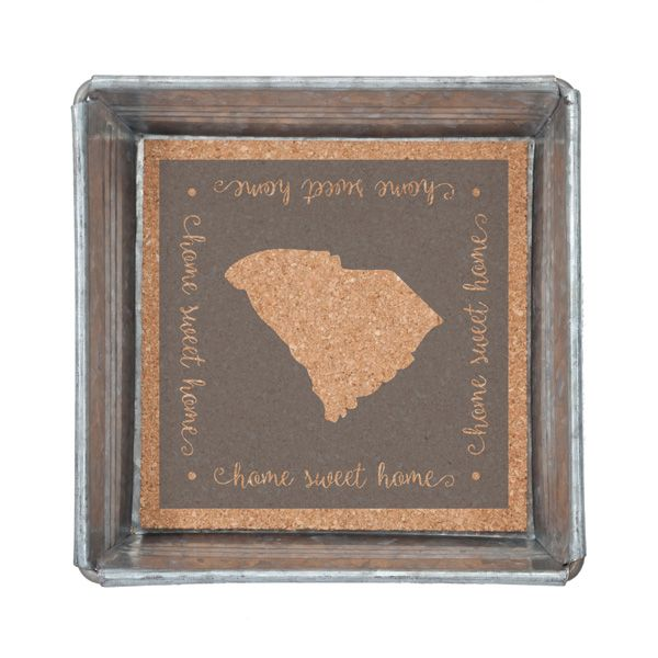 Trinket Tray with Removable Cork Insert-South Carolina - Occasionally Made - Classic Gifts with a Trendy Twist!