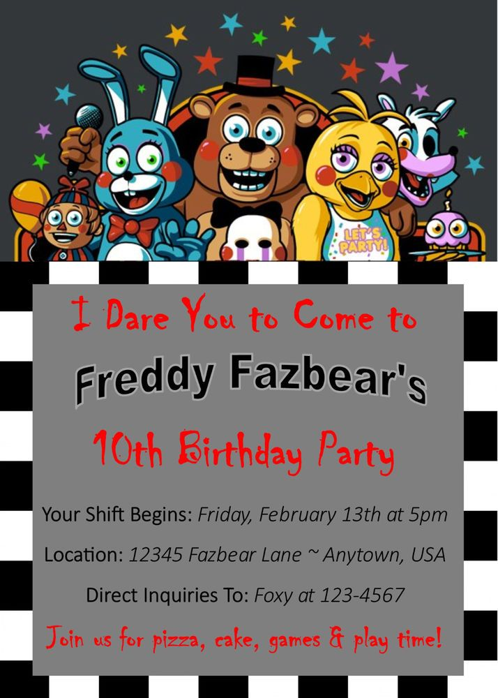 Five Nights At Freddy\'s Custom Birthday Invitation - You Print ...