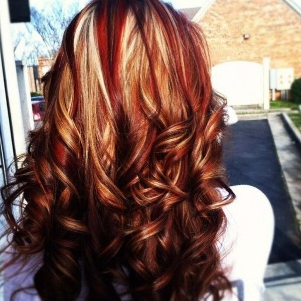 Thinking about itdark brown hair with blonde and red curly brown hair with red and white highlights had my hair like this but red as the main color not brown love it pmusecretfo Images