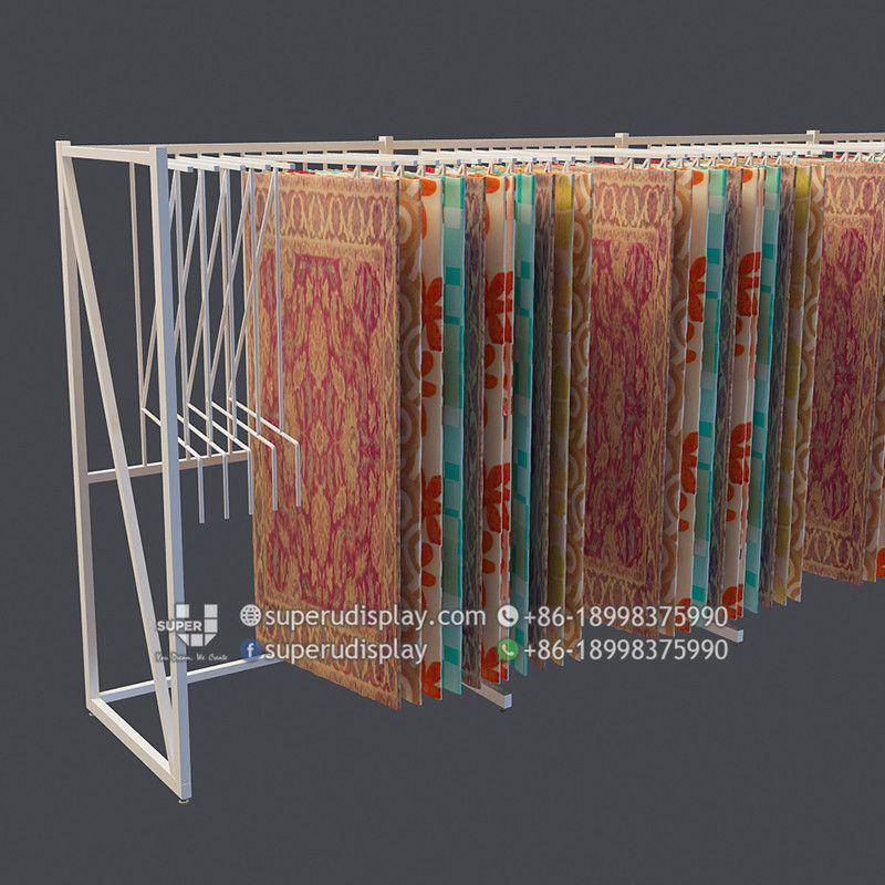 Custom Wall Mounted Swing Arms Hanger Carpet Display Rug Rack For Retail Shop Store Display Design Manufacturer Suppli Custom Wall Store Display Design Carpet