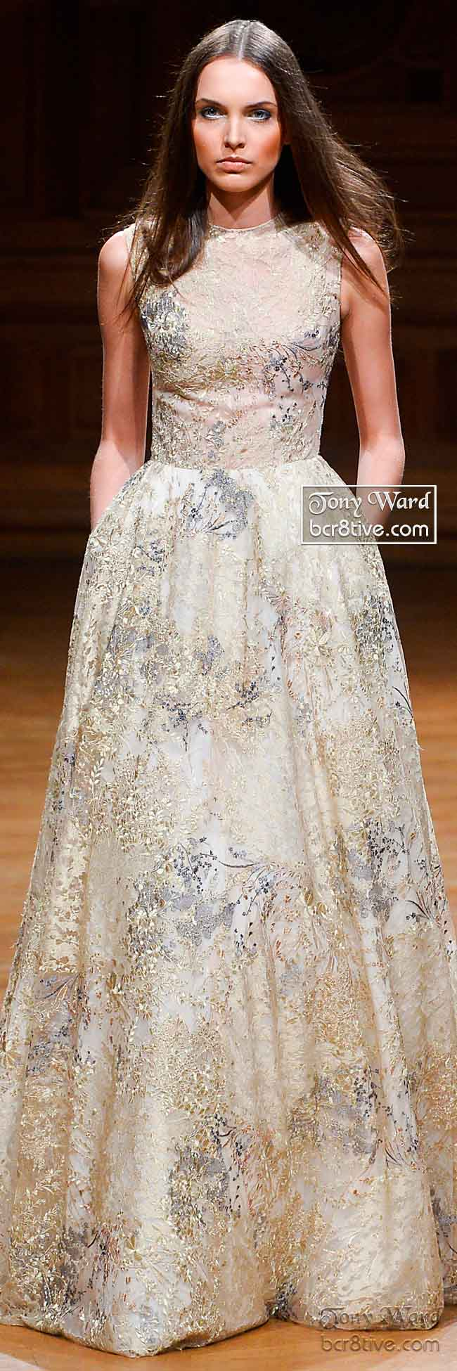 Soft Neutral Floral Sleeveless Gown