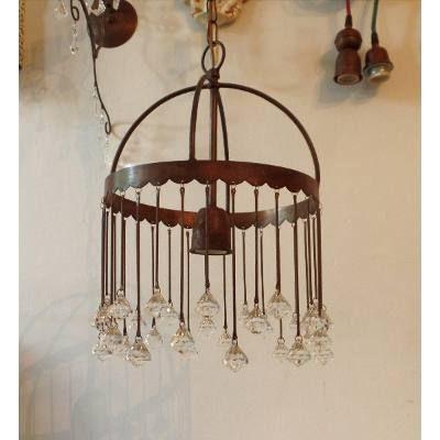 lampara colgante artesanal vintage hierro oxido caireles en