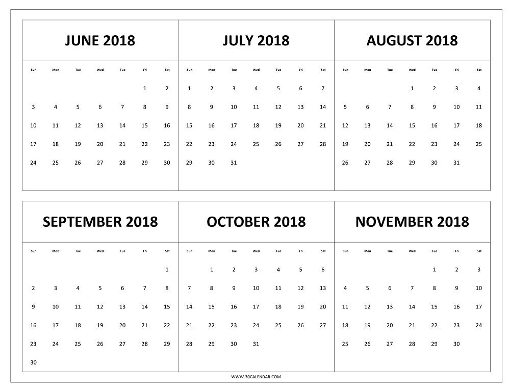Download Six Month Calendar June To November 2018 With US Holidays