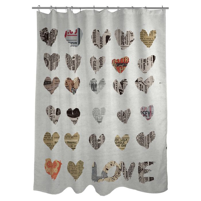 Newspaper Inspired Hearts Collage Shower Curtain With Images Stylish Shower Curtain Shower Curtain Curtains