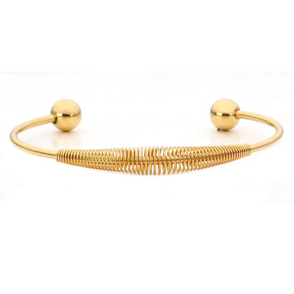 fashion simple gold color spiral round design bracelet
