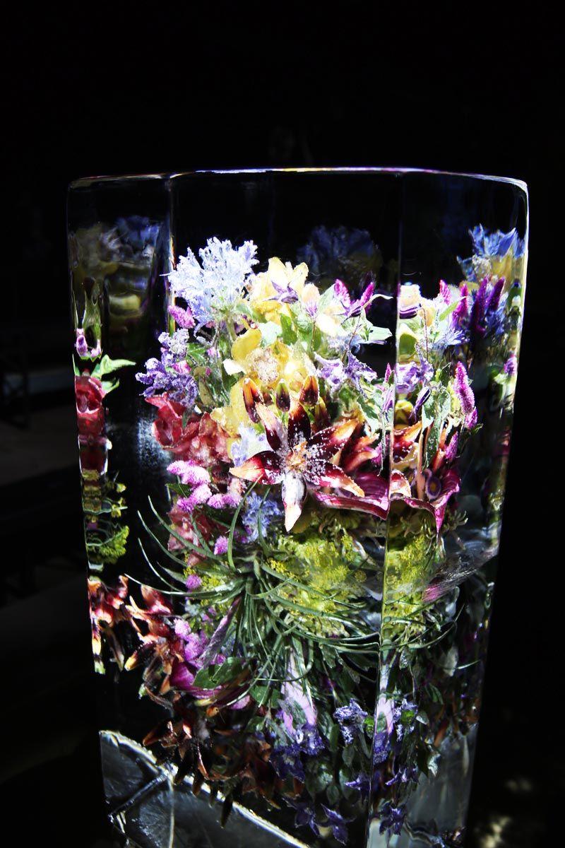 Dries van Noten x Azuma Makoto floral arrangements encased in ice at S/S 17