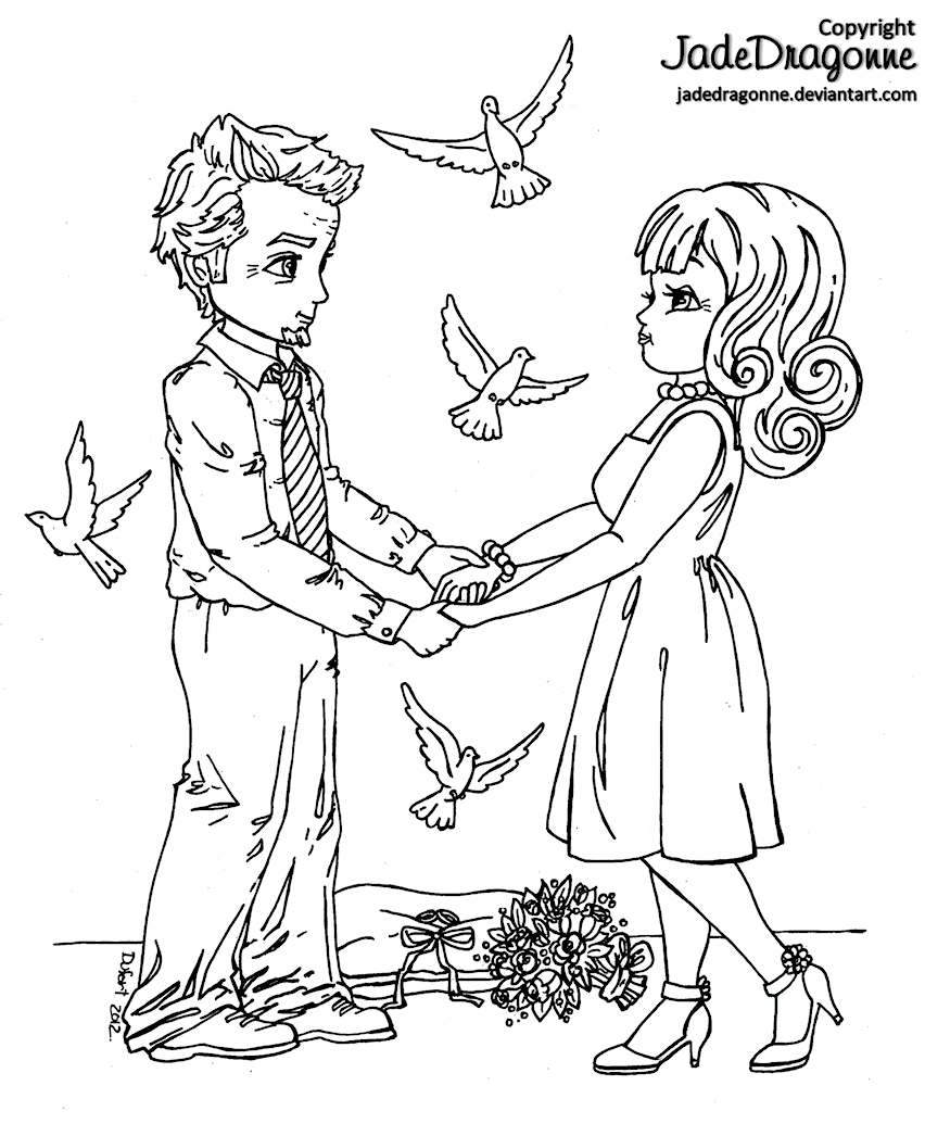 Middle Aged Couple Wedding No 1 By Jadedragonne On Deviantart Coloring Pages Colorful Drawings Disney Coloring Pages