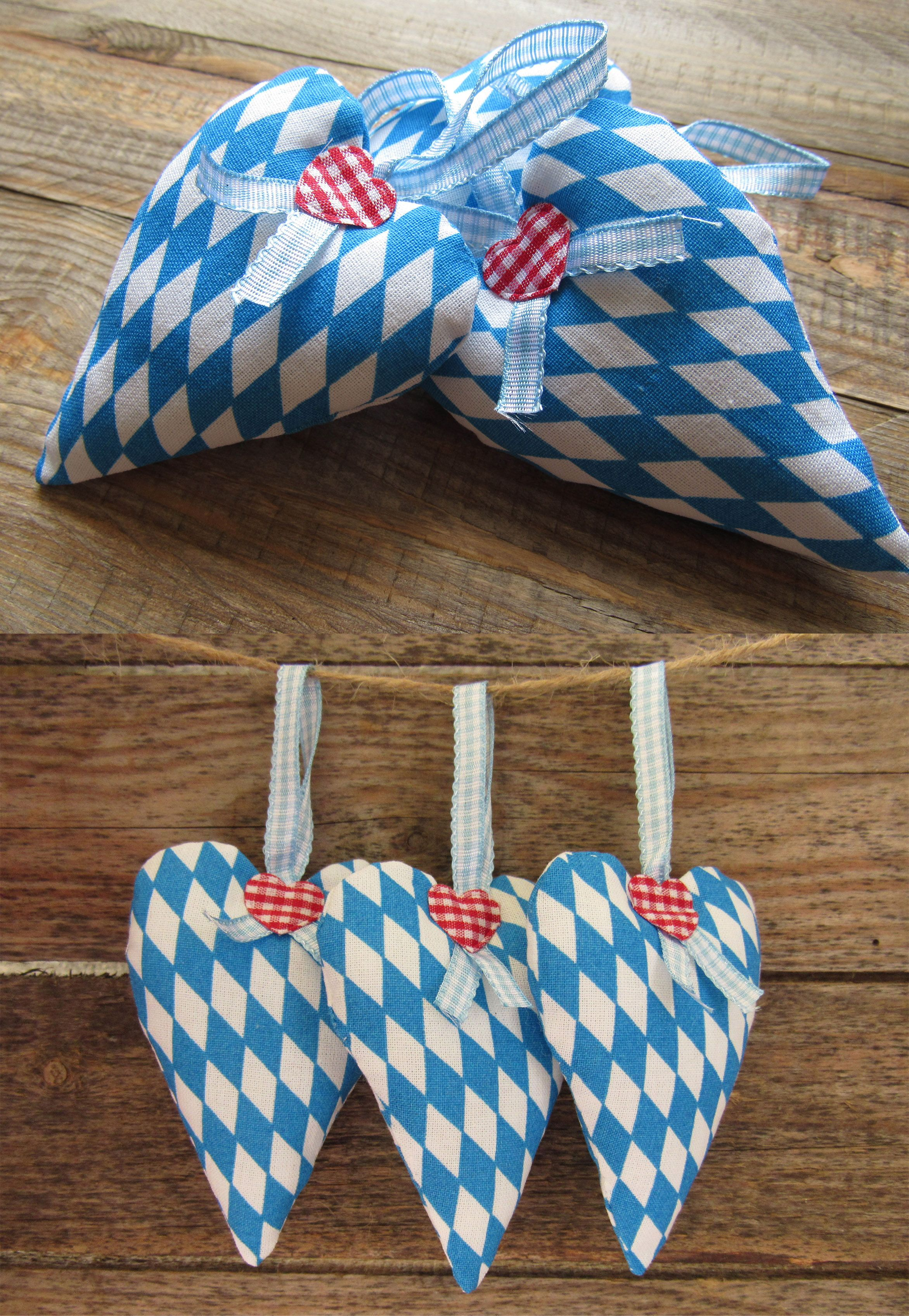 Oktoberfest Decoration Set Of 3 Fabric Hearts Traditional Bavarian
