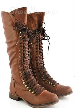 Chic Brown Coppy Leather Lace-Up Decoration Flat Heel Knee High ...