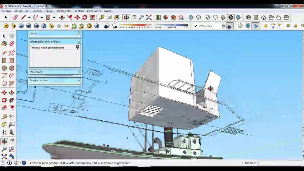 Tutorial sketchup remolcador naval part 3 super for Arquitectura naval e ingenieria maritima