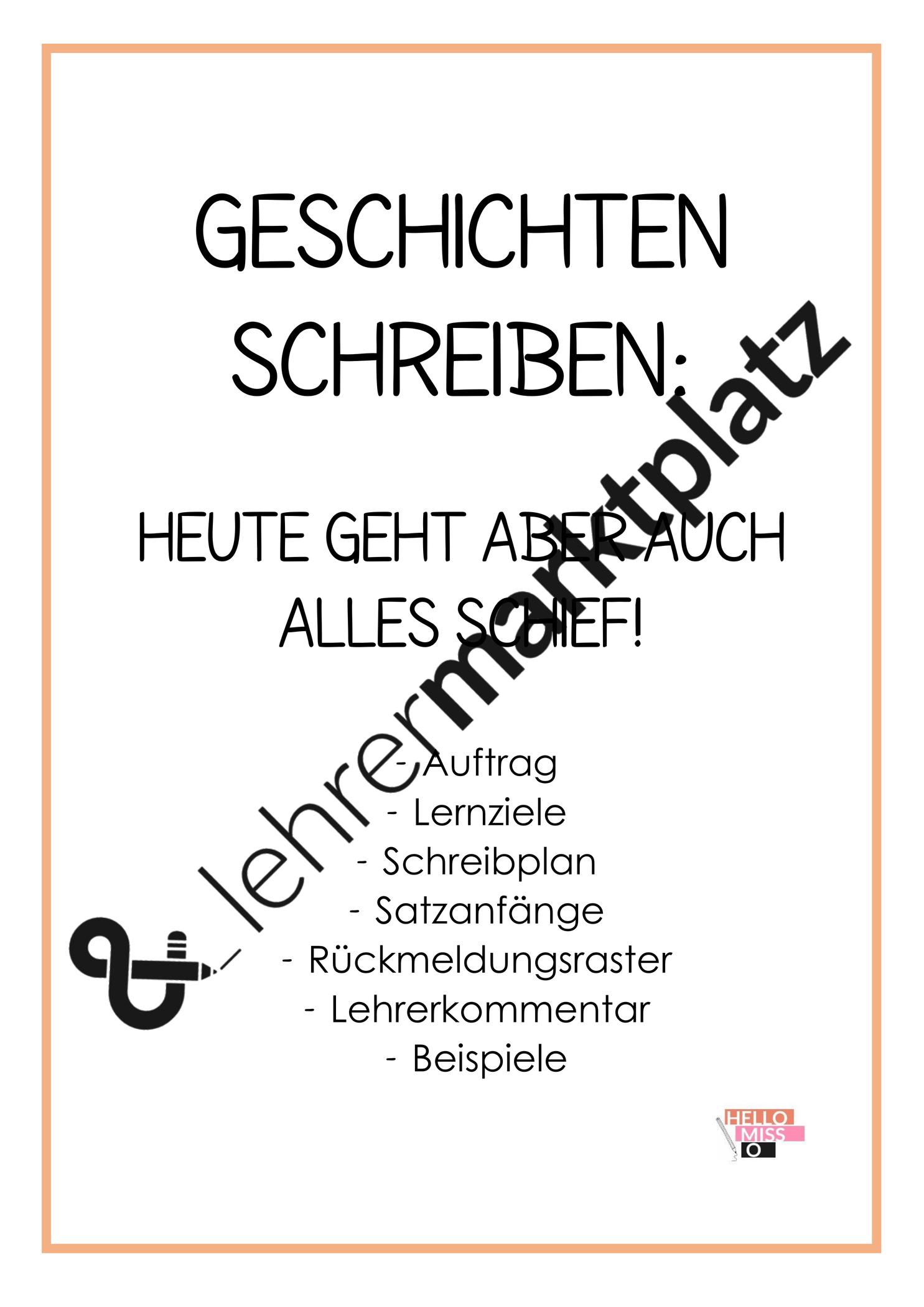Geschichten Schreiben Heute Geht Aber Auch Alle Schief Unterrichtsmaterial Im Fach Deutsch In 2020 Geschichten Schreiben Buch Selber Schreiben Schreiben