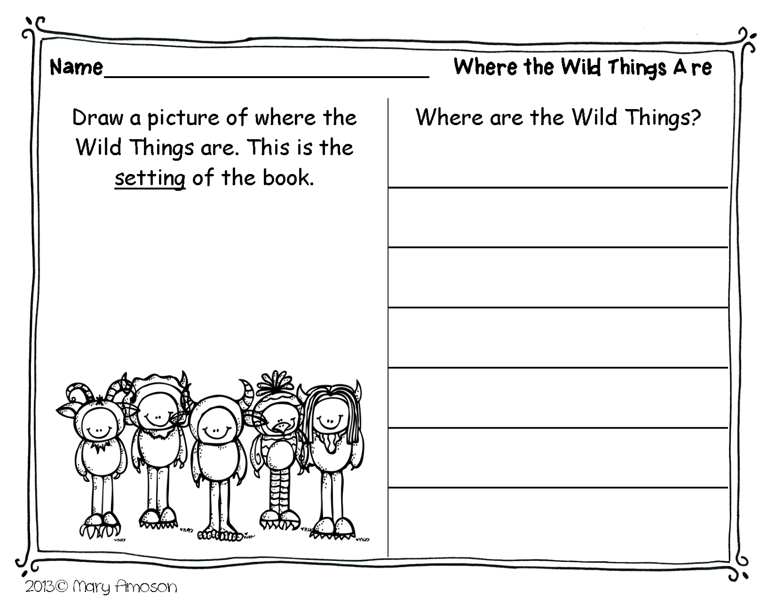 Where the Wild Things Are Worksheet - Twisty Noodle