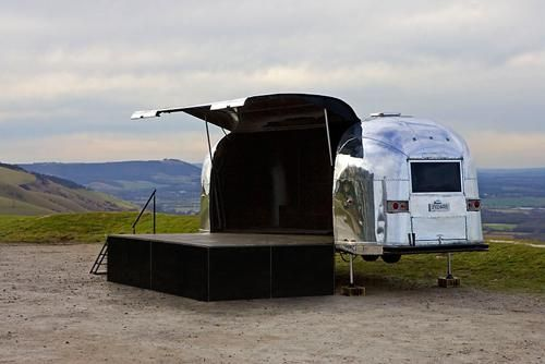 airstream turned mobile stage so u could perform anywhere. Black Bedroom Furniture Sets. Home Design Ideas