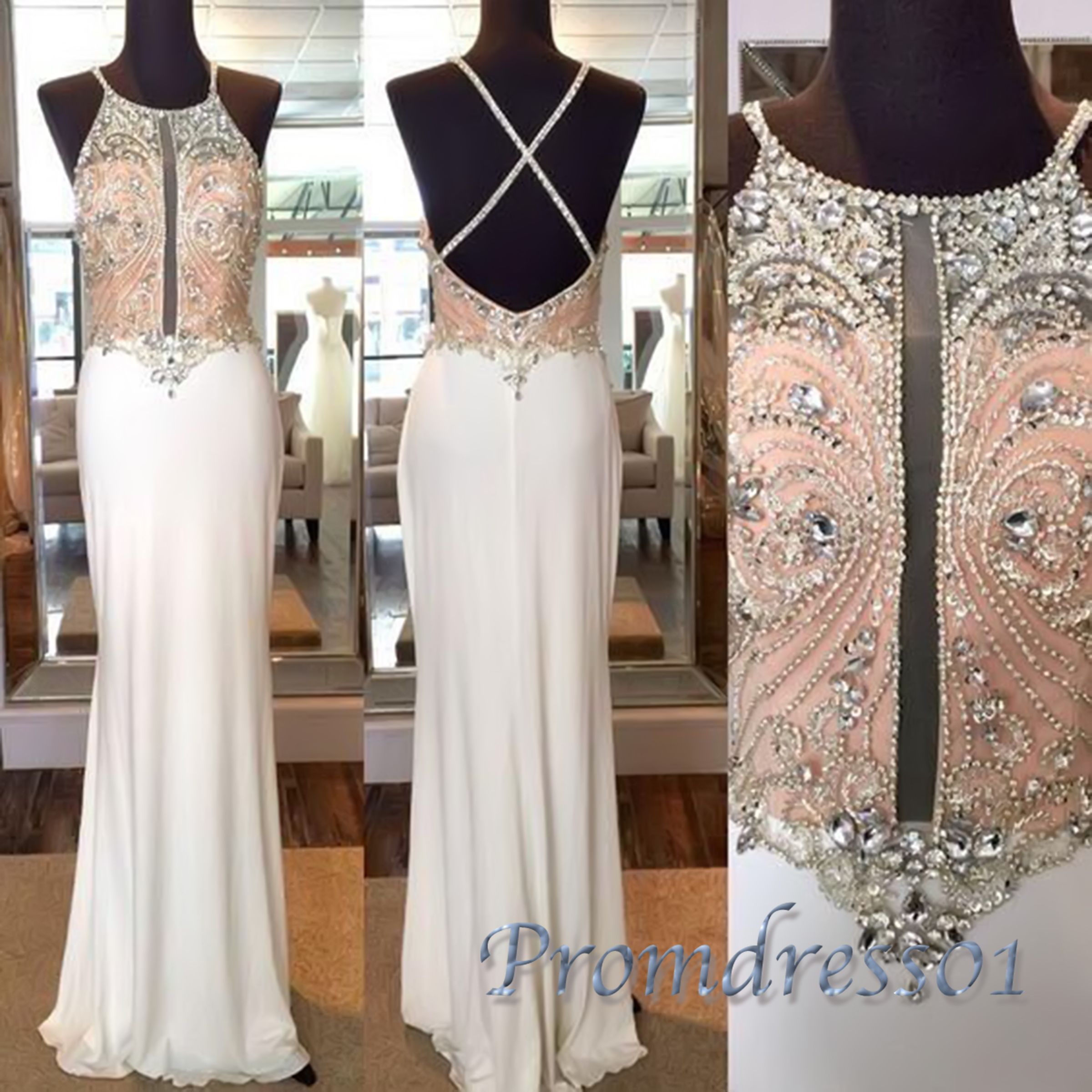 Cute halter white chiffon long prom dress with beautiful top details