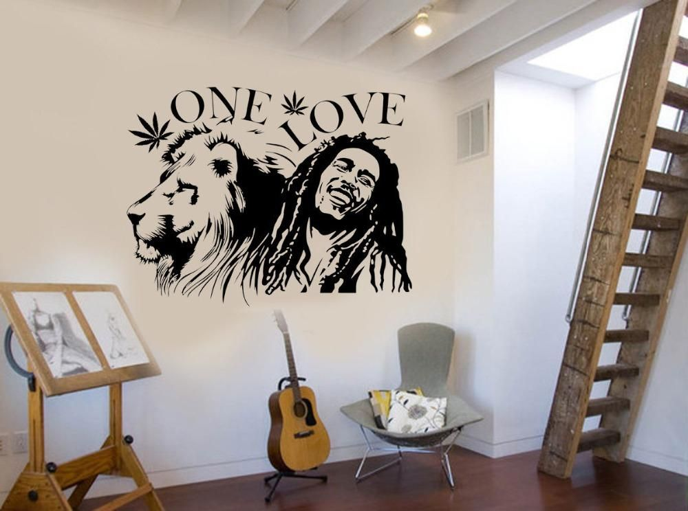 Wall Stickers Muraux Bob Marley Lion Zion \