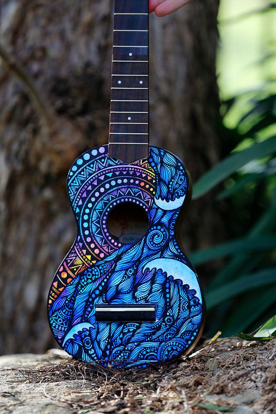 Hand Painted Ukulele Guitar Art Turtle Design from Salty Hippy in Australia