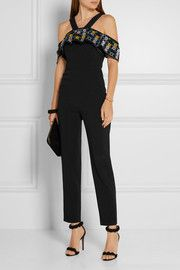 0359abf6c50d PETER PILOTTO Off-the-shoulder embroidered stretch-cady jumpsuit -  2470