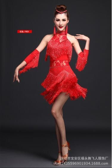 1610d69232f5c Latin Dance Costume For Women Sexy Lace Fringe Latin Dance Dress Women  Clothes Ballroom Tango Salsa Latin Dance Costume Dress