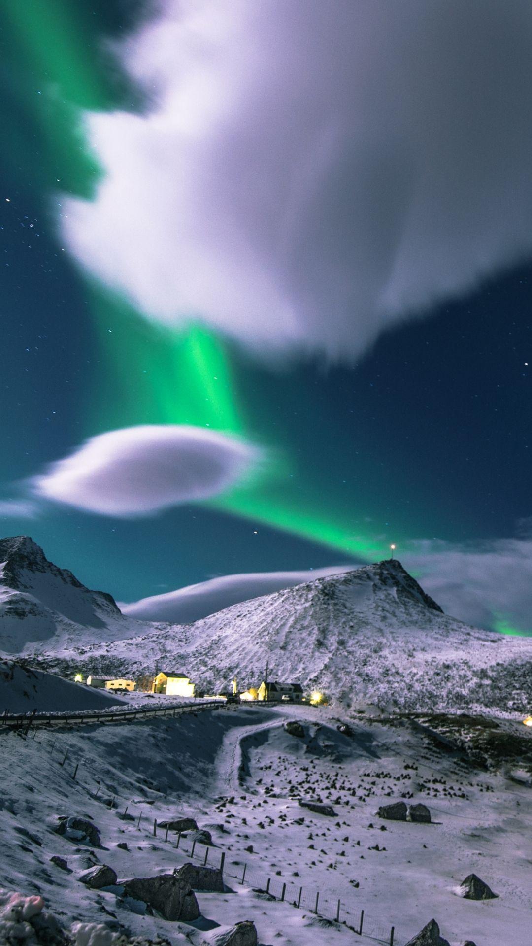 Earth Aurora Borealis Myrland Lofoten Islands Norway
