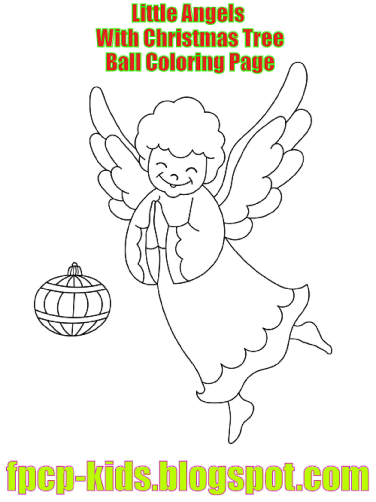 Little Angels With Christmas Tree Ball Coloring Page