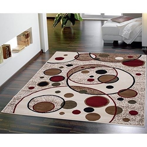 Beige Area Rug Modern Circles Design Rugs 5x7 Red Black Brown Tan Carpet New Modern Area Rugs Home Decor Area Rug Sets