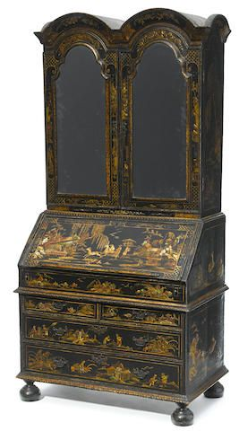 A Queen Anne double dome top lacquered secretary Cabinet