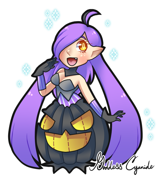 goddesscyanide:  Continuing on with my top 7 favorite shinies I own, I did a gijinka of my shiny gourgeist. She is GOURDeous >U> Get it? She's a pumpkin…..