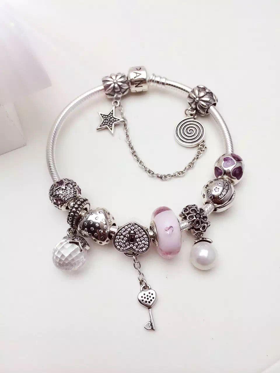33ae5eb84 $239 Pandora Charm Bracelet White Pink. Hot Sale!!! SKU: CB01700 - PANDORA  Bracelet Ideas