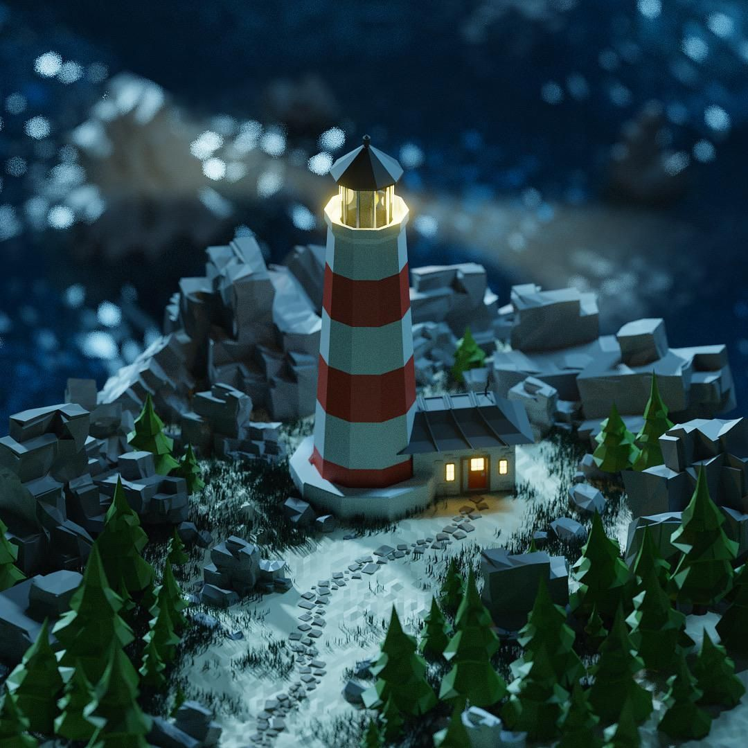 The Lonely Lighthouse Low poly art, Lighthouse, Cg art